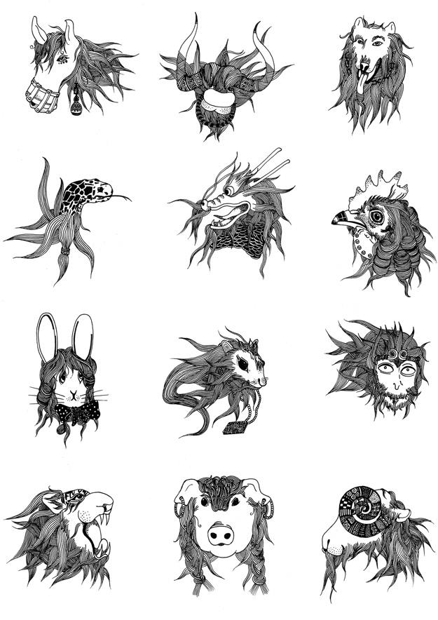12生肖黑白个性图